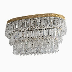 Empire Style Oval Pendant Crystal 8-Light Chandeliers, 1940s, Set of 2
