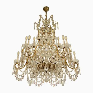 Large Maria Teresa 18-Candle Chandelier with Aurora Borealis Drops, 1970s