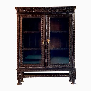 Victorian Gothic Style Green Glazed Oak Bookcase, 1870s