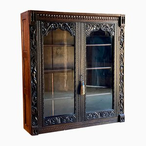 Antique Glazed Carved Oak Bookcase, 1880s