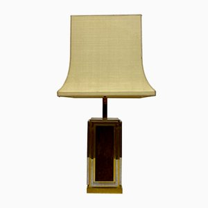 French Brass, Chrome, and Leather Table Lamp from Maison Jansen, 1970s