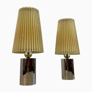 French Chrome and Glass Table Lamps in the Style of Jacques Adnet, 1940s, Set of 2