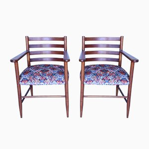 Mid-Century Rubelli Fabric Armchairs, Set of 2