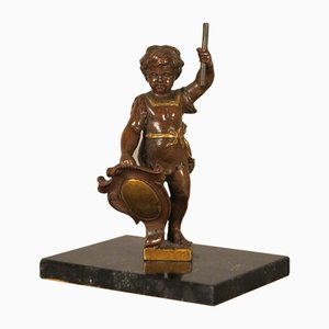 Antique Bronze Putti Sculpture with Shield and Staff on Marble Base