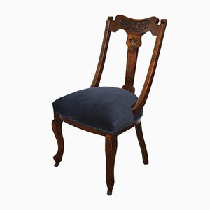 Antique English Edwardian Chair in Blue Velvet with Brass Castors, 1910s