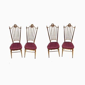 Italian Purple and Brass Dining Chairs from Descalzi Giuseppe Gaetano, 1960s, Set of 4