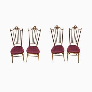 Italienische Esszimmerstühle in Lila & Messing von Descalzi Giuseppe Gaetano, 1960er, 4er Set