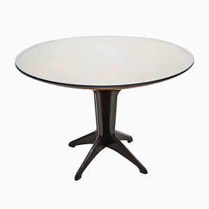 Italian Rosewood Round Extendable Dining Table in the Style of Ico Parisi, 1950s