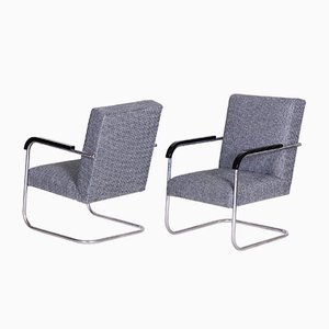 Art Deco German Grey Tubular Armchairs by Anton Lorenz for Mücke Melder, 1930s, Set of 2