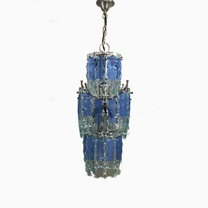 Mid-Century Blue Glass Ceiling Lamp, 1970s