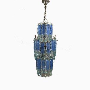 Mid-Century Deckenlampe aus blauem Glas, 1970er