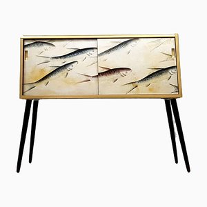 Mid-Century Hand Painted Koi Art Silk Wallpaper TV Cabinet