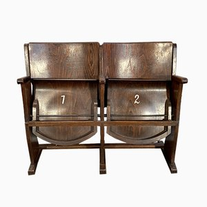 Vintage 2-Seater Cinema Bench from Ton, 1950s