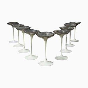 White Tulip Standing Ashtrays by Eero Saarinen for Knoll Inc. / Knoll International, 1970s, Set of 9