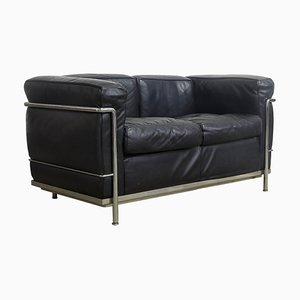 Chrome and Black Leather Model LC2 2-Seater Sofa from Le Corbusier, 1970s