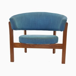 Large Swedish Blue Round Prim Armchair from Material Deklaration, 1960s