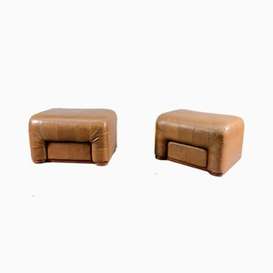 Vintage Brown Leather Ottomans from de Sede, Set of 2