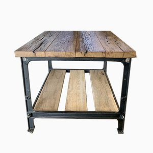 Cast Iron and Oak Simanco Coffee Table from Singer, 1950s