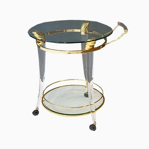 Lucite and Brass Bar Cart, 1980s