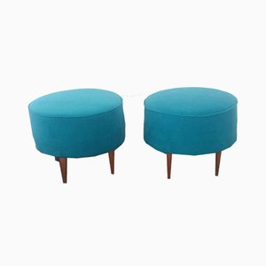 Velvet Ottomans, 1950s, Set of 2