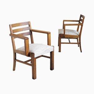 Französische Eichenholz Armlehnstühle, 1950er, 2er Set