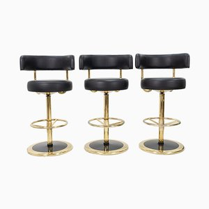 Brass Model Jupiter Bar Stools by Börje Johanson for AB Markaryd, 1968, Set of 3