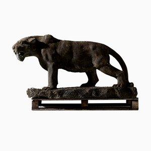 Art Deco Jaguar Skulptur aus Lebensgroßem Steingut, 1930er