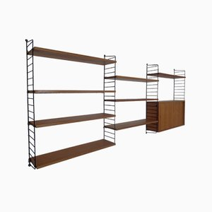 Mid-Century Swedish Ash and Metal Modular Wall Unit by Strinning, Kajsa & Nils ''Nisse'' for String, 1950s