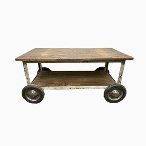 Vintage Industrial Coffee Table with Wheels, 1960s