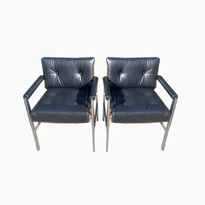 Italian Black Leather Armchairs from Antocks Lairn, 1960s, Set of 2
