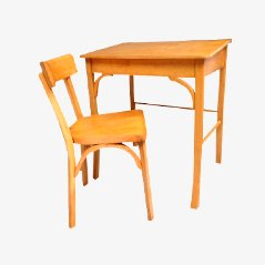 Vintage Wooden Children's Desk and Chair