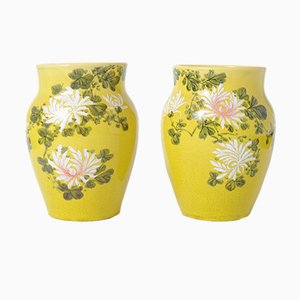 Antique Japanese Yellow Glazed Awaji Ceramic Vases, Set of 2