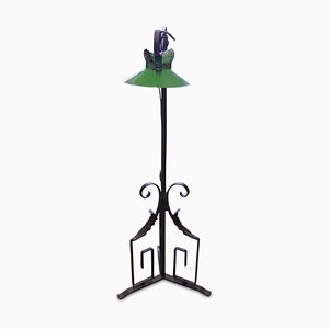 Art Nouveau Wrought Iron Floor Lamp with Green Enamel Shade