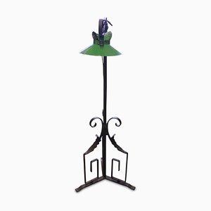 Jugendstil Stehlampe aus Schmiedeeisen mit grün emailliertem Schirm