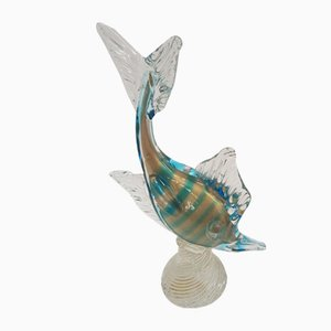 Murano Glass Fish with Gold Threads, 1950s