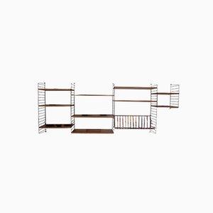 Mueble modular de pared sueco Mid-Century de fresno y metal de Strinning, Kajsa & Nils '' Nisse '' para String, años 50