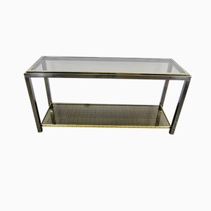 Chrome and Brass 2-Tier Console Table from Belgo Chrom / Dewulf Selection, 1980s