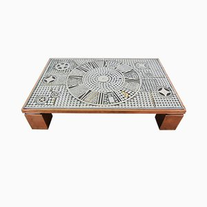 Brutalist Copper and Metal Inlay Coffee Table from Belgo Chrom / Dewulf Selection, 1980s