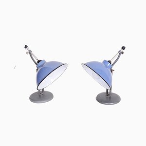 Czech Bauhaus Blue Enameled Steel Table Lamps from Drupol, 1930s, Set of 2