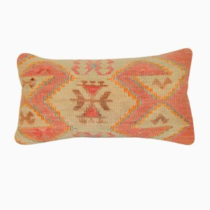 Handmade Orange Lumbar Kilim Cushion Cover