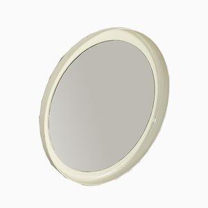 Weißer runder Hartglas Kunststoff Spiegel, Italien, 1950er