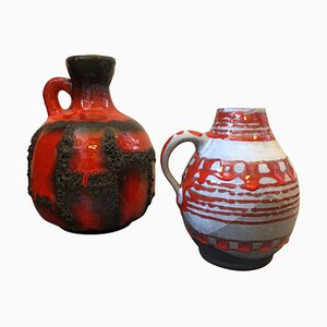 Lava Ceramic Jugs from Scheurich, West Germany, 1970s, Set of 2