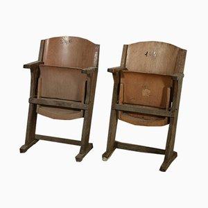 Drehbarer Kino Stuhl aus Holz & Sperrholz, Italien, 1930er