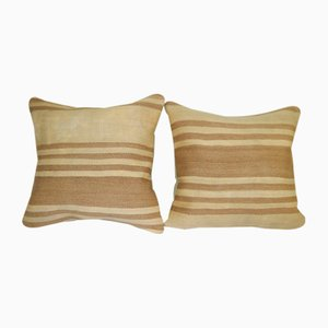 Square Tan Hemp Kilim Cushion Covers, Set of 2