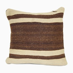Turkish Hemp Rug Cushion Cover in Off-White with Woven Stripes