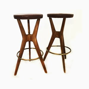 Mid-Century Stools, 1950s, Italy, Set of 2