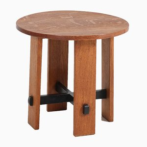 Art Deco Hague School Oak Side Table by Jan Brunott, 1920s