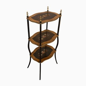 Antique French Victorian Mahogany 3-Tier Plant Stand