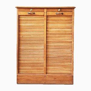 Oak Filing Shutter Cabinet, 1950s