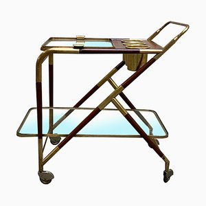 Mid-Century Brass and Mahogany Bar Cart by Cesare Lacca